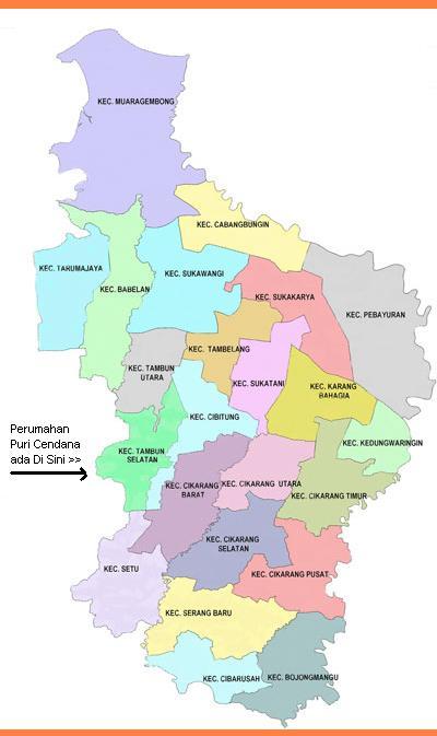 Peta Kabupaten Bekasi Jawa Barat